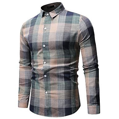 economico Abbigliamento uomo-Camicia Per uomo A quadri Verde XL