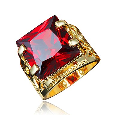 90eb62b8082a25 Women's Red Cubic Zirconia Classic Ring Engagement Ring 18K Gold Plated  Imitation Diamond Stylish Luxury Romantic Fashion Elegant Ring Jewelry Gold  For ...