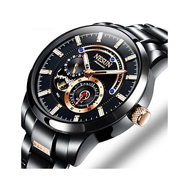 Недорогие Часы на металлическом ремешке-nesun Муж. Спортивные часы С автоподзаводом Нержавеющая сталь Черный / Серебристый металл / Золотистый 30 m Защита от влаги Фосфоресцирующий Повседневные часы Аналоговый На каждый день Мода -
