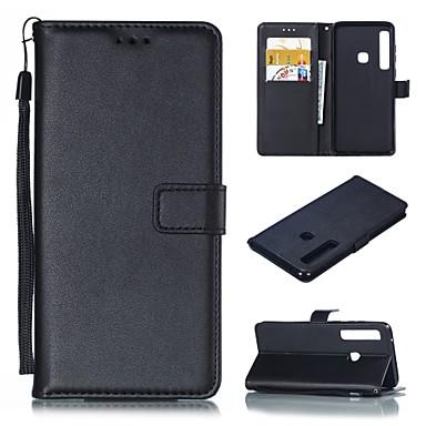Недорогие Чехлы и кейсы для Galaxy A5-Кейс для Назначение SSamsung Galaxy A5(2018) / A6 (2018) / A6+ (2018) Бумажник для карт / со стендом Чехол Однотонный Твердый Кожа PU