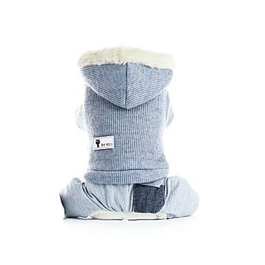 cheap Dog Clothing & Accessories-Dogs Coat Outfits Dog Clothes Solid Colored Gray Pink Plush Costume For Corgi Beagle Bulldog Fall Winter Male Female Casual / Daily Warm Ups