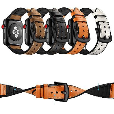 Недорогие Ремешки для Apple Watch-Ремешок для часов для Apple Watch Series 4/3/2/1 Apple Классическая застежка силиконовый / Натуральная кожа Повязка на запястье