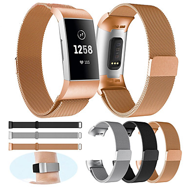 cheap Smartwatch Accessories-Watch Band for Fitbit Charge 3 / Charge 3 SE / Women Men Special Editon Fitbit Milanese Loop Metal Wrist Strap