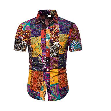 economico Abbigliamento uomo-T-shirt - Taglie forti Per uomo Con stampe, Fantasia geometrica Colletto Arancione XXXL