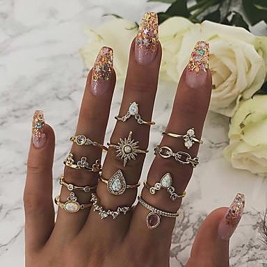billige Damesmykker-Dame Statement Ring / Ring Set / Midi Ring Syntetisk Opal 12pcs Gull Fuskediamant / Legering Geometrisk Form Statement / Bohemsk Fest / Daglig / Gate Kostyme smykker / Stjerne