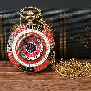 Χαμηλού Κόστους Ανδρικά ρολόγια-Ανδρικά Ρολόι Τσέπης Χαλαζίας Χρυσό Καθημερινό Ρολόι Μεγάλο καντράν Αναλογικό Καθημερινό Μοντέρνα - Μαύρο / Κόκκινο