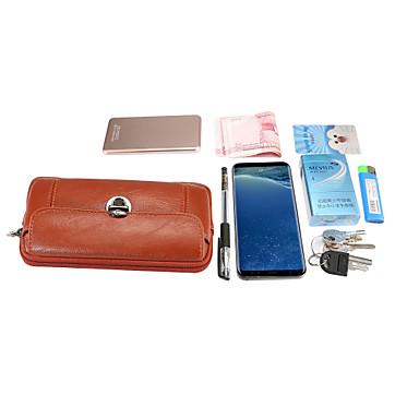 voordelige Universele hoesjes & tasjes-5/6 inch case voor universele kaarthouder heuptas / waistpack effen gekleurd zacht pu leer