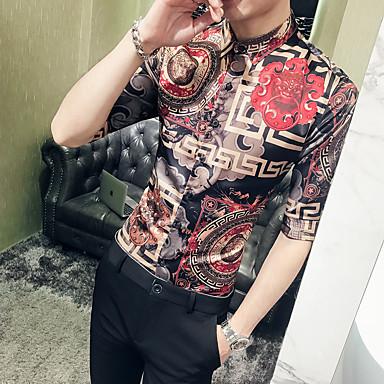 economico Abbigliamento uomo-Camicia - Taglie UE / USA Per uomo Con stampe, Tribale Verde XL / Manica lunga