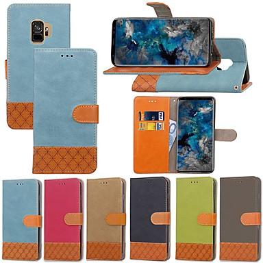 Недорогие Чехлы и кейсы для Galaxy S6 Edge-Кейс для Назначение SSamsung Galaxy S9 / S9 Plus / S8 Plus Бумажник для карт / со стендом / Флип Чехол Однотонный / Геометрический рисунок Твердый текстильный