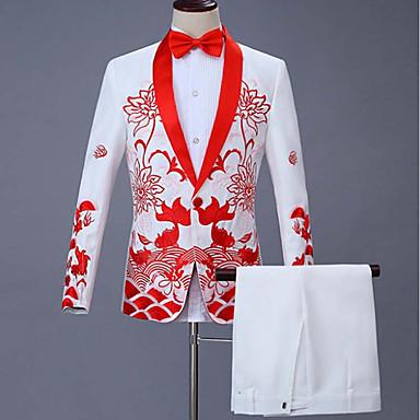 ieftine Îmbrăcăminte la Modă Bărbați-Bărbați Costume Rever Clasic Bumbac / Acrilic / Poliester Negru / Roșu-aprins / Bleumarin