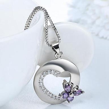preiswerte Halsketten-Damen Synthetischer Amethyst Pendant Halskette Herz Schmetterling Romantisch Elegant Kupfer Diamantimitate Silber 45 cm Modische Halsketten Schmuck 1pc Für Alltag
