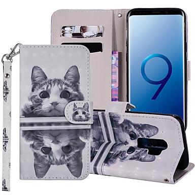 Недорогие Чехлы и кейсы для Galaxy S6-Кейс для Назначение SSamsung Galaxy S9 / S9 Plus / S8 Plus Кошелек / Бумажник для карт / со стендом Чехол Кот Твердый Кожа PU