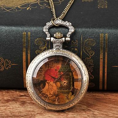 Χαμηλού Κόστους Ανδρικά ρολόγια-Ανδρικά Ρολόι Τσέπης Χαλαζίας Μπρονζέ Καθημερινό Ρολόι Μεγάλο καντράν Αναλογικό Λουλούδι Βίντατζ - Καφέ