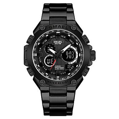 Недорогие Часы на металлическом ремешке-Муж. Спортивные часы Кварцевый Нержавеющая сталь Черный / Серебристый металл Защита от влаги Секундомер Фосфоресцирующий Аналого-цифровые На каждый день На открытом воздухе -