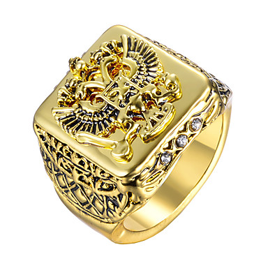 cheap Men's Rings-Men's Sculpture Ring family crest Military Ring Jewelry Gold / Silver For Gift Daily
