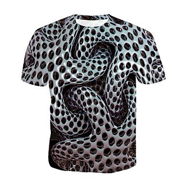 economico T-shirt e canotte da uomo-T-shirt Per uomo Militare / Esagerato Con stampe, A pois / 3D Rotonda Grigio XXXXL / Manica corta