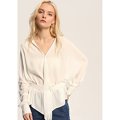 cheap Blouses-Women's Blouse - Solid Colored White S