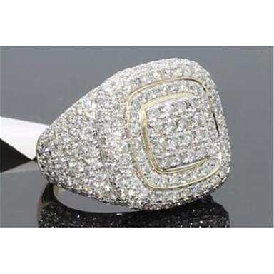 ราคาถูก แหวน-สำหรับผู้ชาย Cubic Zirconia คลาสสิค แหวน ความปิติยินดี Stylish เย็นแล้ว แหวนแฟชั่น เครื่องประดับ สีทอง สำหรับ ปาร์ตี้ ทุกวัน 8 / 9 / 10 / 11 / 12