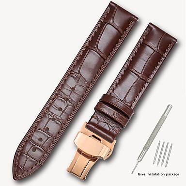 billige Herreure-ægte læder / Læder / Kalvehår Urrem Strap for Sort / Brun 17cm / 6.69 tommer / 18cm / 7 Tommer / 19cm / 7.48 Tommer 1.4cm / 0.55 Tommer / 1.6cm / 0.6 Tommer / 1.8cm / 0.7 Tommer