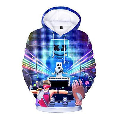 cheap Boys' Clothing-Kids Toddler Boys' Active Basic Print Print Long Sleeve Polyester Hoodie & Sweatshirt Rainbow