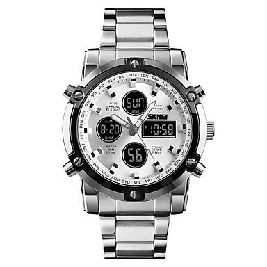 Недорогие Часы на металлическом ремешке-SKMEI Муж. электронные часы Цифровой Нержавеющая сталь Черный / Серебристый металл 30 m Защита от влаги Будильник Календарь Аналого-цифровые На каждый день Мода -