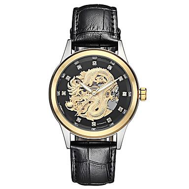 זול שעוני גברים-בגדי ריקוד גברים שעון מכני אוטומטי נמתח לבד עור אמיתי שחור / חום 30 m עמיד במים זוהר בחושך מגניב אנלוגי פאר אופנתי - מוזהב לבן זהב / לבן שחור / זהב