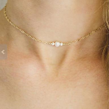 billige Perle Halskæde-Dame Halskæde Perler Simple Mode Perle Chrome Guld 40 cm Halskæder Smykker 1pc Til Fest / aften Daglig