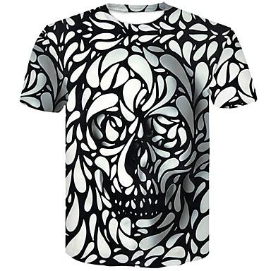 economico Abbigliamento uomo-T-shirt - Taglie forti Per uomo 3D / Teschi Rotonda - Cotone Bianco XXL / Taglia piccola