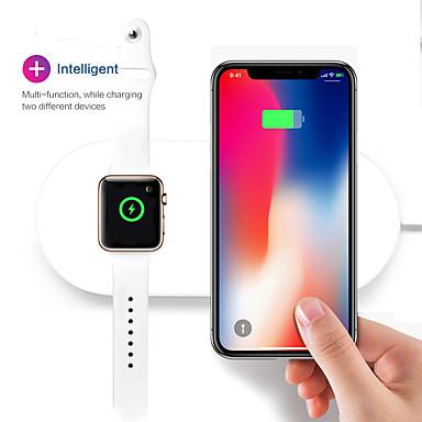 voordelige Apple Watch-bevestigingen & -houders-Draagbare 2 in 1 qi draadloze opladen pad stand iwatch charger voor apple horloge serie 2/3 iphone x 8 8 plus samsung galaxy note qi apparaat
