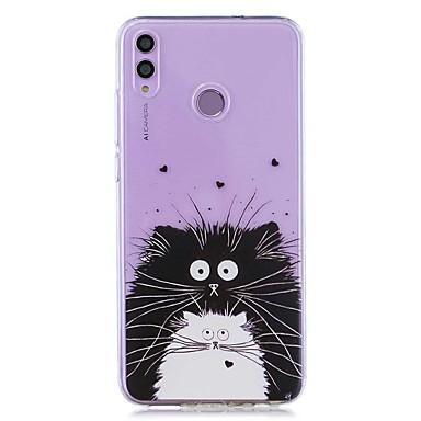 voordelige Huawei Y-serie hoesjes / covers-hoesje voor huawei honor 8x / huawei p smart (2019) patroon / transparante achterkant zwart en witte kat zachte tpu voor mate20 lite / mate10 lite / y6 (2018) / p20 lite / nova 3i / p smart / p20 pro