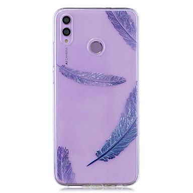 voordelige Huawei Mate hoesjes / covers-hoesje voor huawei honor 8x / huawei p smart (2019) patroon / transparante achterkant blauwe veren zachte tpu voor mate20 lite / mate10 lite / y6 (2018) / p20 lite / nova 3i / p smart / p20 pro