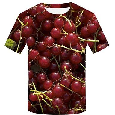baratos Roupa de Homem Moderna-Homens Camiseta Moda de Rua / Exagerado Estampado, 3D / Gráfico / Fruta Vermelho XXL