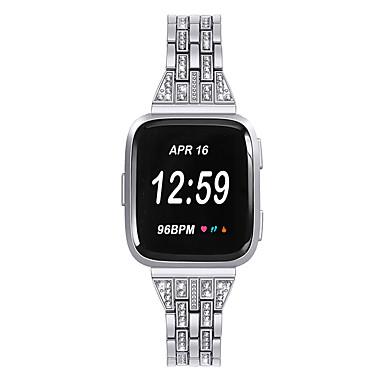 voordelige Smartwatch-accessoires-dames diamant horlogeband voor fitbit versa / fitbit versa lite armband roestvrij stalen band polsband