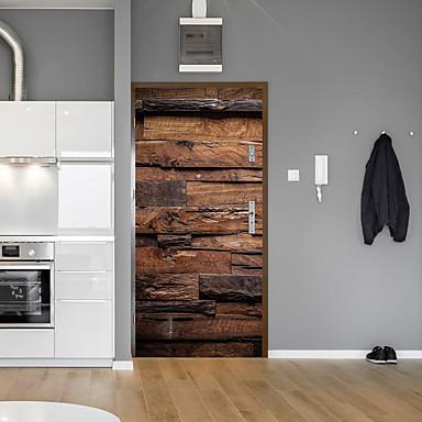 Grão de madeira retro porta de tijolos adesivos decorativas porta decalque à prova d 'água decoração