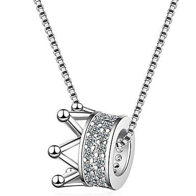 billige Mote Halskjede-Dame Halskjede Krone Enkel Chrome Fuskediamant Sølv 45 cm Halskjeder Smykker 1pc Til Daglig