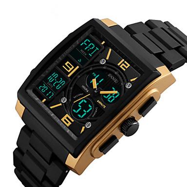 Недорогие Часы на кожаном ремешке-SKMEI Муж. электронные часы Цифровой Кожа Черный 30 m Защита от влаги Новый дизайн Ударопрочный Аналого-цифровые Мода - Красный Синий Золотистый Два года Срок службы батареи