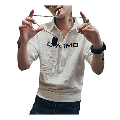 economico Abbigliamento uomo-Camicia Per uomo Moda città / Elegante Con stampe, Fantasia geometrica / Pop art / Ritratto Bianco US38