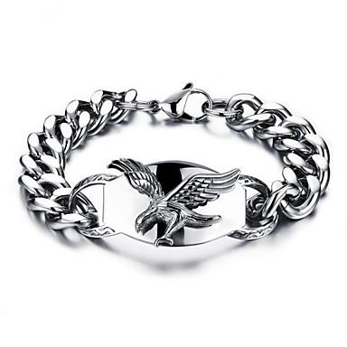 ieftine Brățări-Bărbați Brățări cu Lanț & Legături Geometric Vultur Stilat Oțel titan Bijuterii brățară Argintiu Pentru Zilnic Concediu