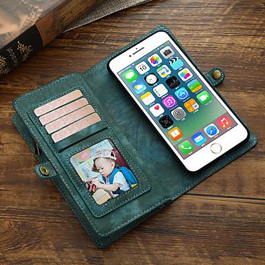 Недорогие Кейсы для iPhone-Кейс для Назначение Apple iPhone 8 Pluss / iPhone 7 Plus Кошелек / Бумажник для карт / Флип Чехол Однотонный Кожа PU