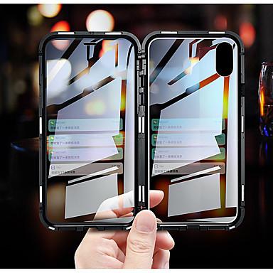 voordelige iPhone 7 hoesjes-luxe dubbelzijdig glas metalen magnetische behuizing voor iphone xs max iphone xr x 7 8 plus telefoon geval magneet dekking 360 volledige bescherming