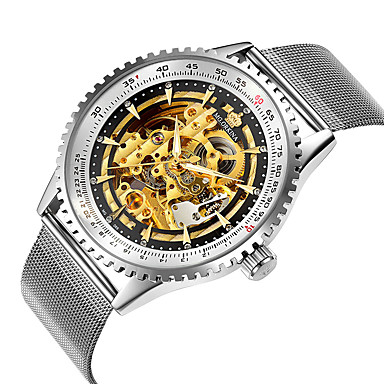 levne Pánské-Pánské mechanické hodinky Automatické natahování S dutým gravírováním Analogové Kostra - Bílá Černá Černá / Bílá