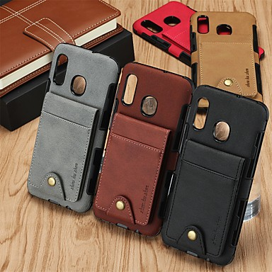 cheap Cell Phone Cases-Case For Samsung Galaxy Galaxy M10(2019) / Galaxy M20(2019) / Galaxy M30(2019) Card Holder / Shockproof Back Cover Solid Colored TPU