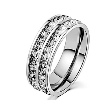 זול טבעות-בגדי ריקוד גברים טבעת הטבעת / טבעת / זנב טבעת 1pc כסף / זהב ורד פלדת על חלד / פלדת טיטניום מעגלי בסיסי / אופנתי מתנה / יומי / הבטחה תכשיטי תלבושות