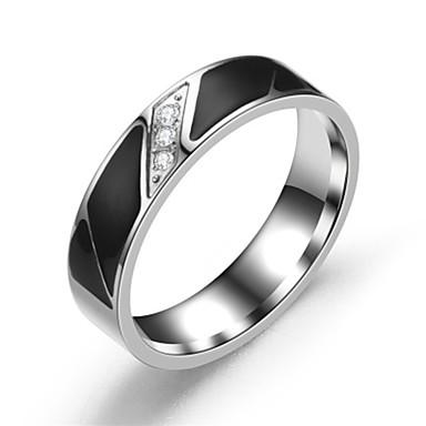 זול טבעות-בגדי ריקוד גברים / בגדי ריקוד נשים טבעת הטבעת / טבעת / זנב טבעת 1pc כסף פלדת על חלד מעגלי בסיסי / אופנתי מתנה / יומי תכשיטי תלבושות