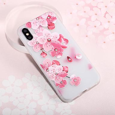 voordelige iPhone 6 hoesjes-hoesje Voor Apple iPhone XS / iPhone XR / iPhone XS Max Strass / Reliëfopdruk / Patroon Achterkant Bloem TPU
