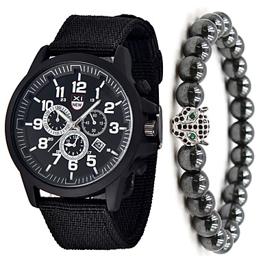 저렴한 남성용 시계-남성용 스포츠 시계 석영 나일론 블랙 / 블루 / 브라운 아니요 달력 크로노그래프 귀여운 아날로그 새로운 도착 패션 - 브라운 그린 블루 1 년 배터리 수명