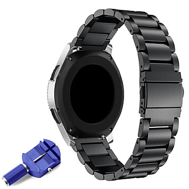 voordelige Smartwatch-accessoires-22mm roestvrij stalen horlogeband vervangende metalen band voor versnelling s3 classic / frontier smart / samsung galaxy horloge 46mm / ticwatch pro / ticwatch s2 e2