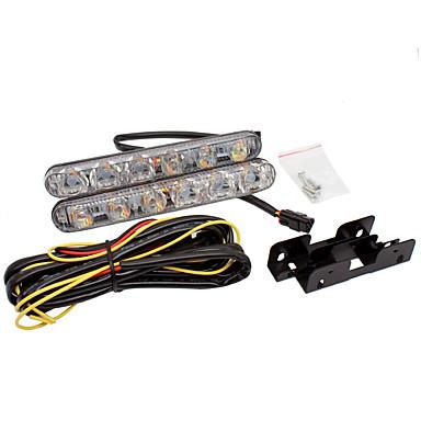 voordelige Autoverlichting overdag-auto drl knipperlicht wit knipper geel aluminium waarschuwing rijden mistlamp auto 6 led-dagrijverlichting drl 12v