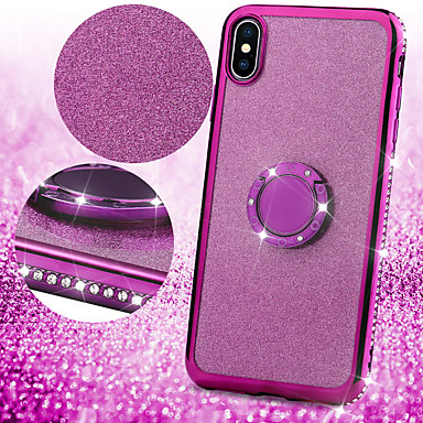 voordelige Galaxy A-serie hoesjes / covers-hoesje voor samsung galaxy a6 (2018) / a6 (2018) / a8 2018 / a8plus 2018 / note 9 / note8 / s10plus / s9 / s8plus rhinestone / ringhouder achterkant glitter glans tpu