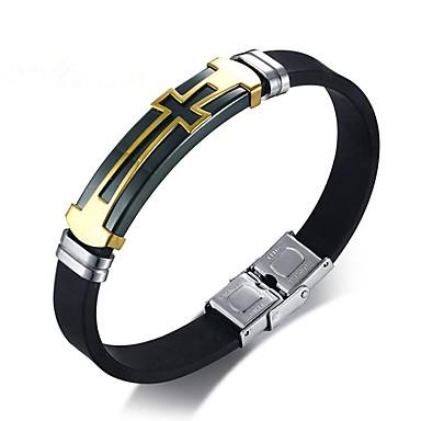 voordelige Heren Armband-Heren Lederen armbanden meetkundig Kruis Stijlvol Legering Armband sieraden Zwart Voor Dagelijks